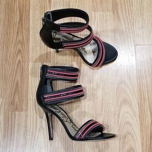 10e96dfef655 Sam Edelman Alton Black Sandal Zipper Heels